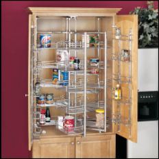 Photo of a chrome Plated pantry storage unit.
